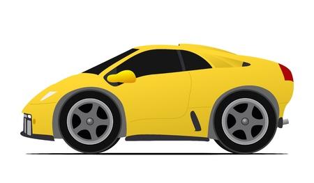 미니: 이탈리아 미니 노란색 자동차 경주 일러스트