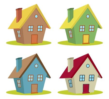 modern huis: set van vier huizen met kleurveranderingen Stock Illustratie