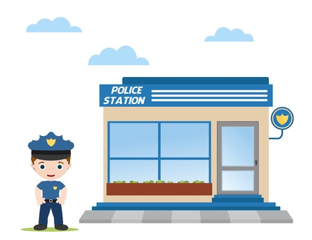 security laws: police station with police officer in front