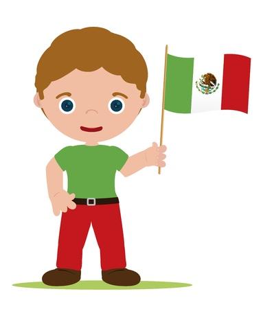 traje mexicano: el hombre con la bandera de México