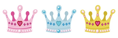 royal person: set crowns for princess, pink, blue and gold