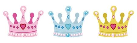 ustawić korony dla księżniczki, różowy, niebieski i złota