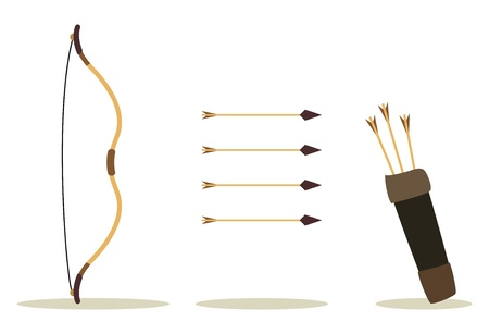 drawing arrow: bow, arrow and case, hit int the center Illustration