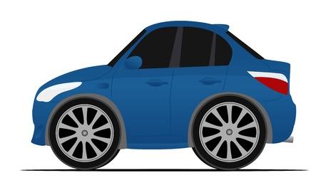 미니: 미니 블루 스포츠 자동차, 빠르게 움직이는