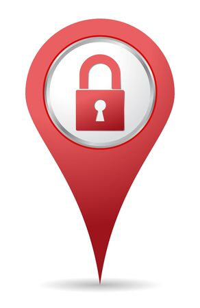 red location padlock icon for maps Stock Vector - 14984965