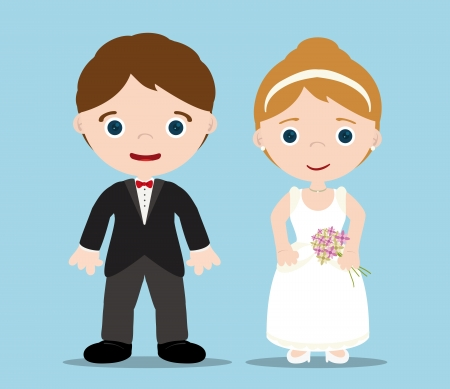 Mariée et le marié avec fond bleu Banque d'images - 14984944