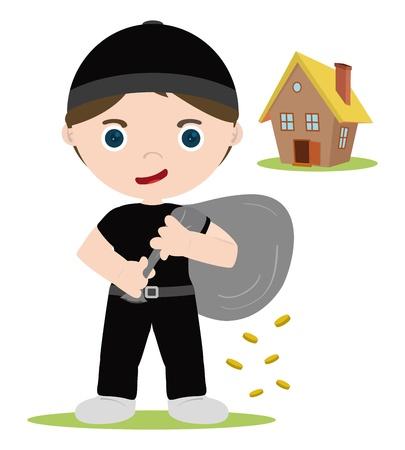 geld: huis dief met geld munten Stock Illustratie