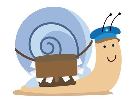 귀여운 KAWAII 달팽이 메일 일러스트