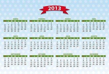 2013 spanish calendar  Vector