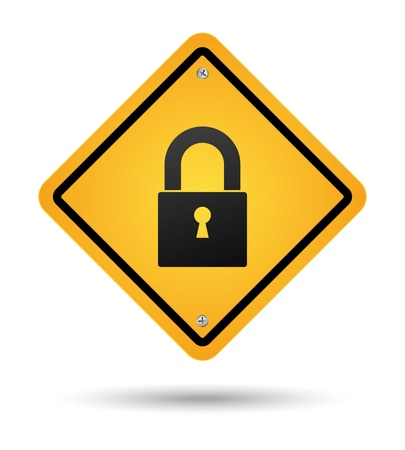yellow padlock road sign for security Vector