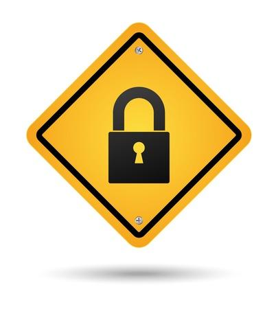 yellow padlock road sign for security Çizim