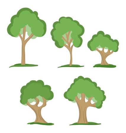 huge tree: set of five green trees Illustration