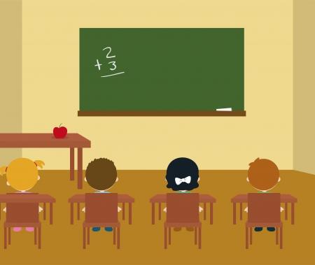 salle classe: int�rieur de la chambre classe d'�cole avec des enfants