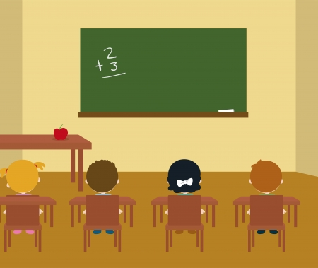 school class room interior with kids Vector