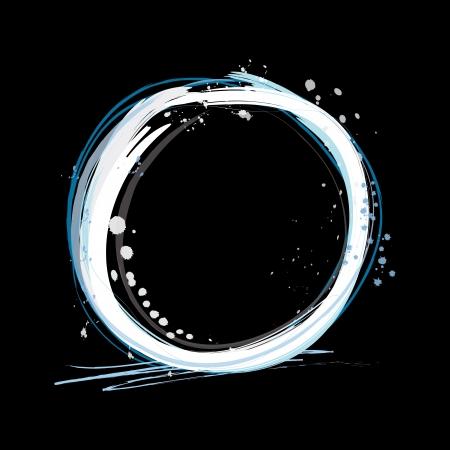 dark brushed grunge paint ring Illustration