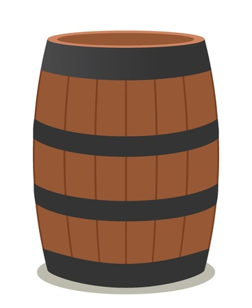 barrel of wood and steel for wine Vector