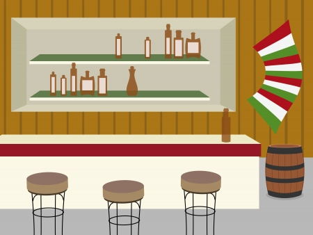 indoor of bar, saloon or cantina in old western Stock Vector - 15383402
