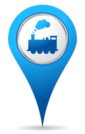 elhelyezkedés: kék vonat helyszín ikonja térképek