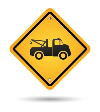 고립 된 노란색 견인 도로 표지판 일러스트