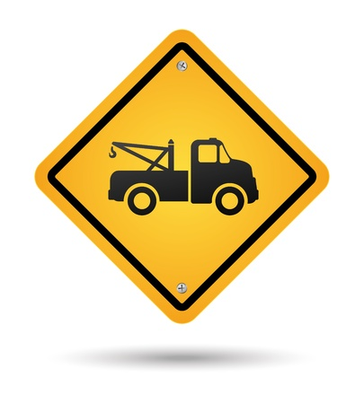 yellow tow road sign isolated Vector
