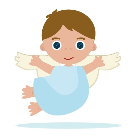 cute little angel flying in heaven Vector