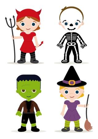 halloween party: halloween kinderen kostuum, duivel, skelet, franky en heks