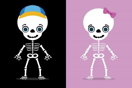 huesos: juego de dos esqueletos de ni�os, halloween