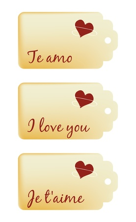 set of love tags in spanish, english and french Stock Vector - 16062312