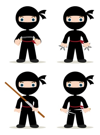 set of 4 ninjas with weapons Vector
