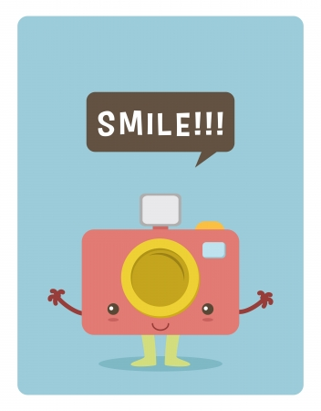 kawaii camera character, smile for a picture