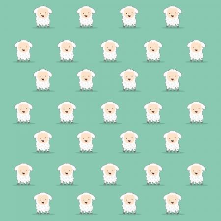 cute cartoon sheep texture in green Vettoriali