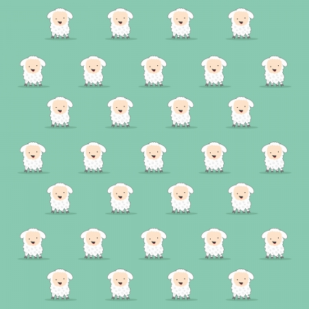 cute cartoon sheep texture in green Vectores