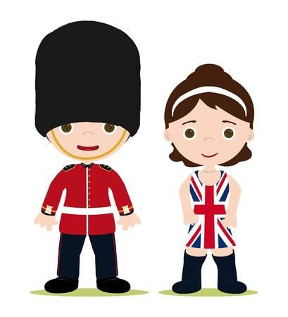 royal person: England Royal guard and girl with Union Jack dress