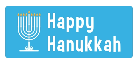 Hanukkah blue sticker with candle Vectores