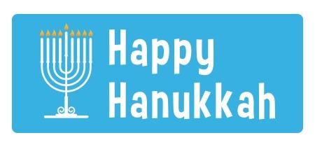 Hanukkah blauen Aufkleber mit Kerze Standard-Bild - 16461784
