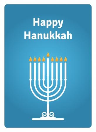 촛불 블루 하누카 카드 일러스트