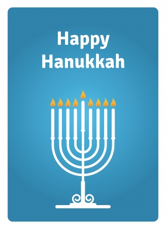 Blue Hanukkah card with a candle Çizim
