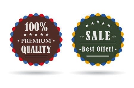commerce: two vintage badges for retail and commerce
