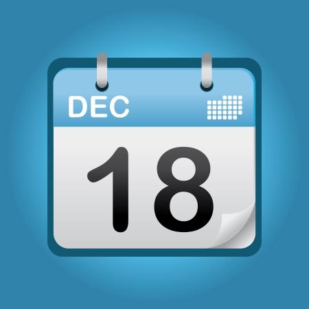 12월 파란색 아이콘 종이 달력