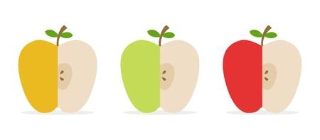 set van drie gesneden appelen voor decor