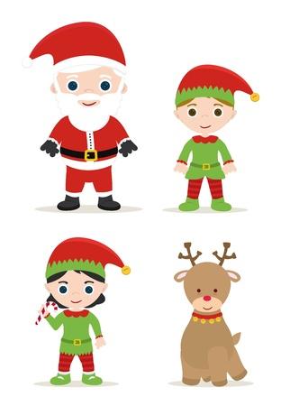 귀여운 크리스마스 세트, 산타, 요정과 사슴 일러스트