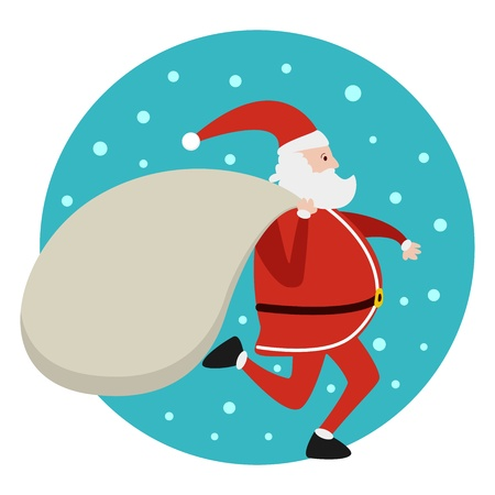 Santa Claus running with bag of presents Xmas