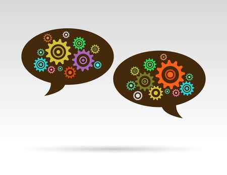 speech bubbles ideas with color gears Vector