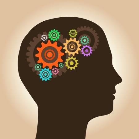 mind set: Intelligence concept, men with ideas and gears