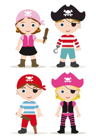 pirate cartoon: cute set of children pirates Illustration