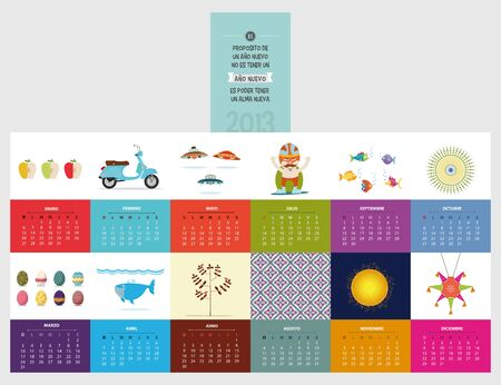calendar 2013 spanish, with beautiful illustration each month Vector