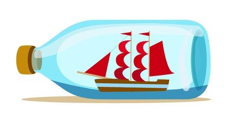glazen fles met schip binnen