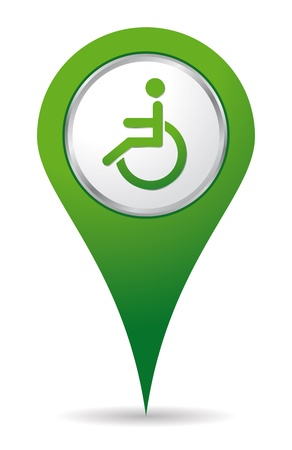green location handicap icon for maps Stock Vector - 17247487