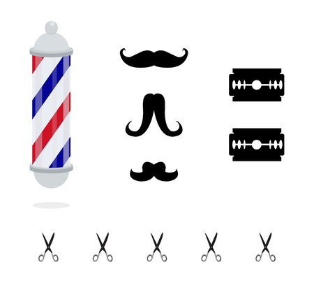 male symbol: elements of barber shop set