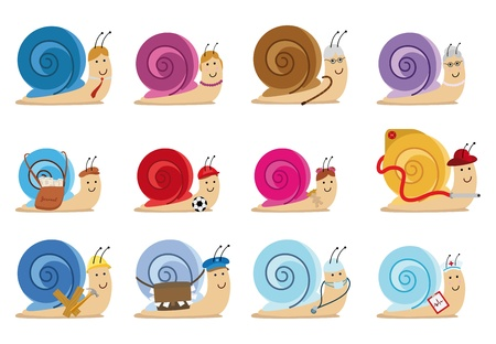 set of twelve snail characters, different jobs Ilustração